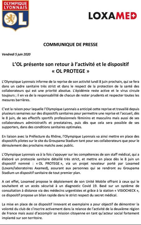 références communique presse olympique lyonnais